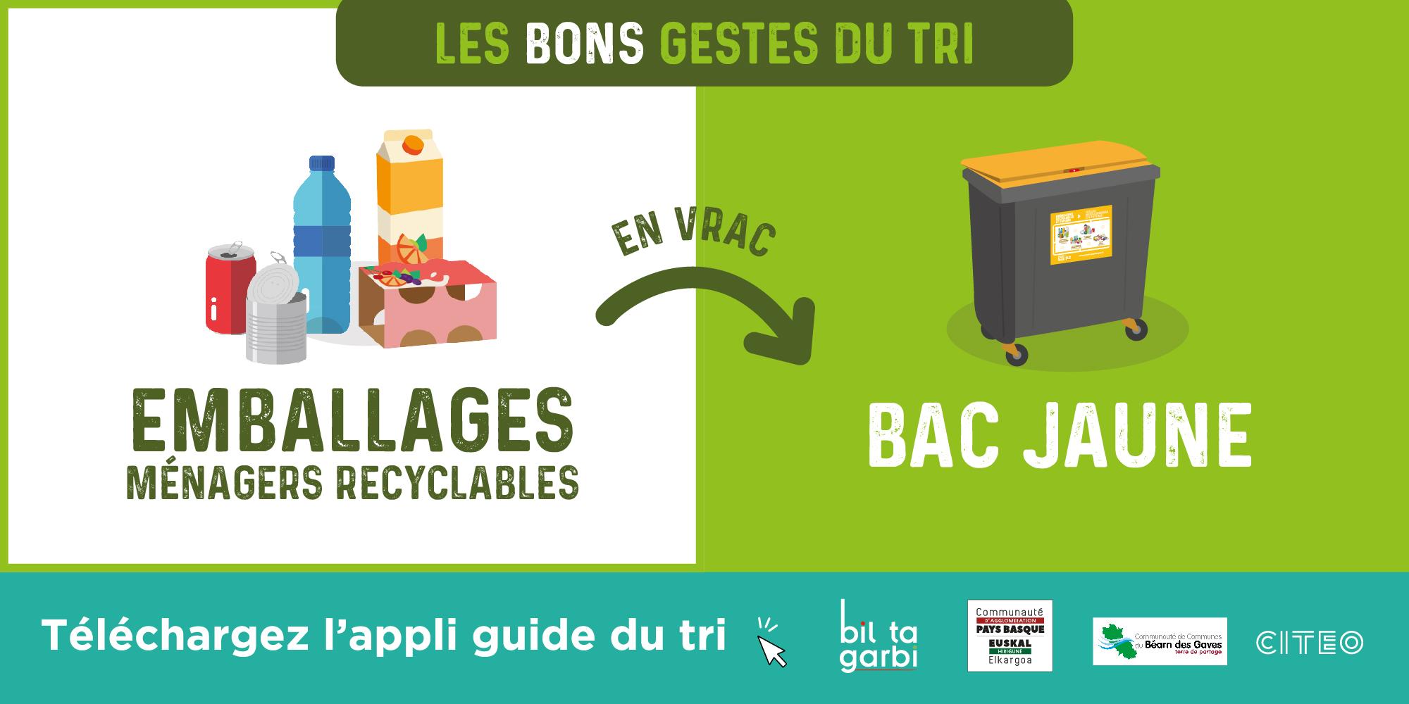 visuel de consignes de tri pour les emballages ménagers recyclables à mettre en vrac dans le bac jaune