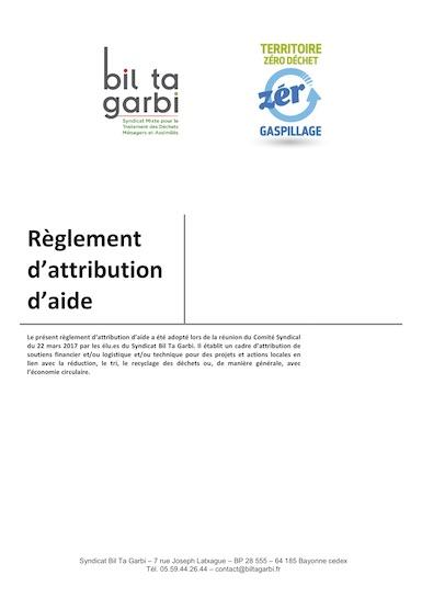 Règlement attribution aide à compter 2020